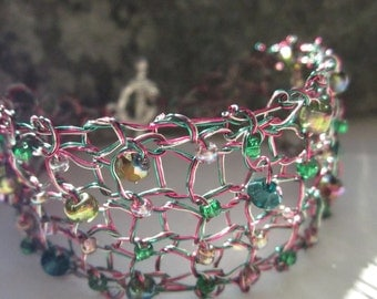 Handcrafted Jewelry Pink Green Silver Knit Wire Bracelet