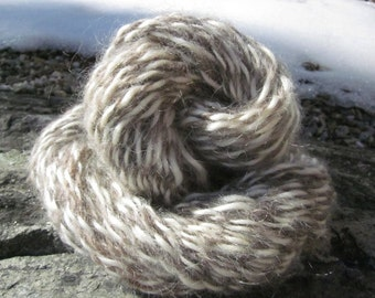 Pure White Mohair and Natural Gray Wool Homespun Yarn