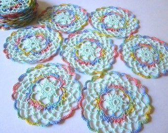 Pretty Pastel Handmade Crocheted Doily Coasters for sale