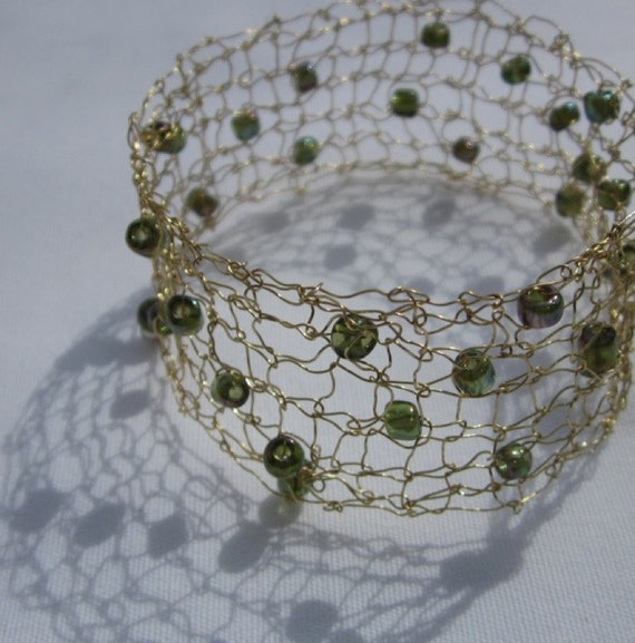 Knitting With Wire And Beads : Designer handcrafted knit wire beaded bangle bracelet