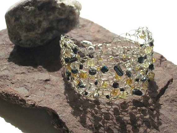 Knit Wire Bracelet Silver Gold Handcrafted Jewelry