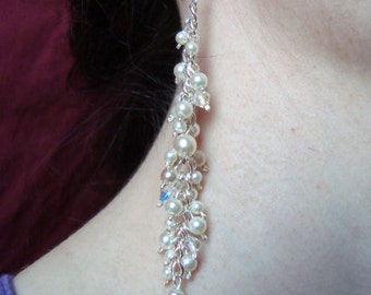SALE - Swarovski and Faux Pearl Cluster Earrings