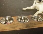 Wood Dog Dish Holder reclaimed oak barn beam 3 BOWL SMALL
