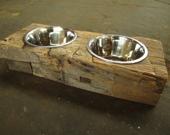 Wood Dog Dish Holder reclaimed oak barn beam 2 BOWL SMALL