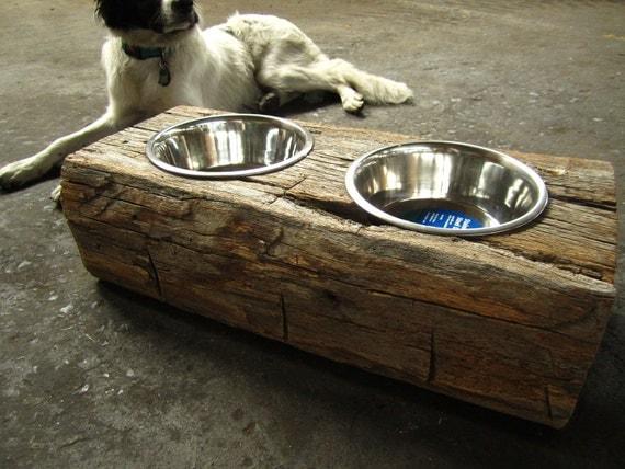 Wood Dog Dish Holder reclaimed oak barn beam