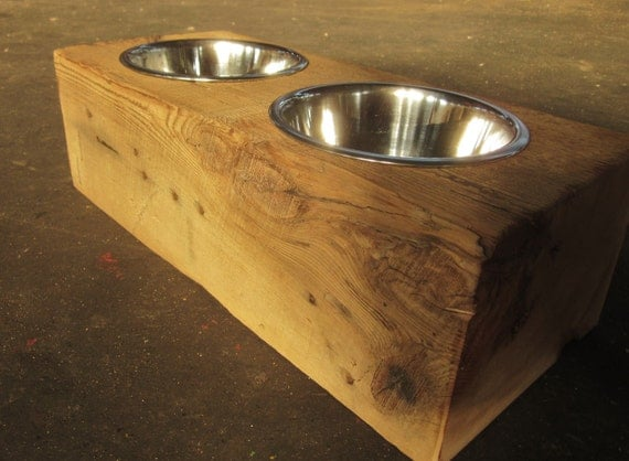 Wood Dog Dish Holder Reclaimed Hemlock Barn Beam Reserved For