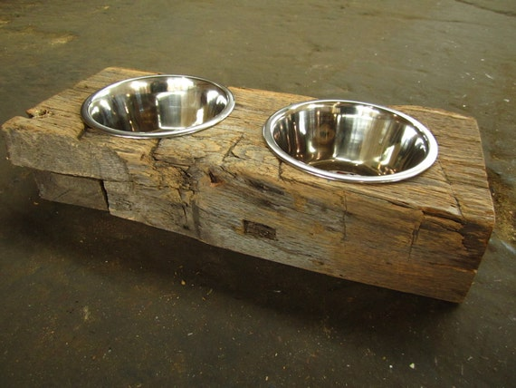 Wood Dog Dish Holder reclaimed barn beam 2 BOWL SMALL