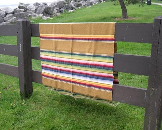 Vintage Mustard Serape Mexican Blanket - RESERVE for Vicki