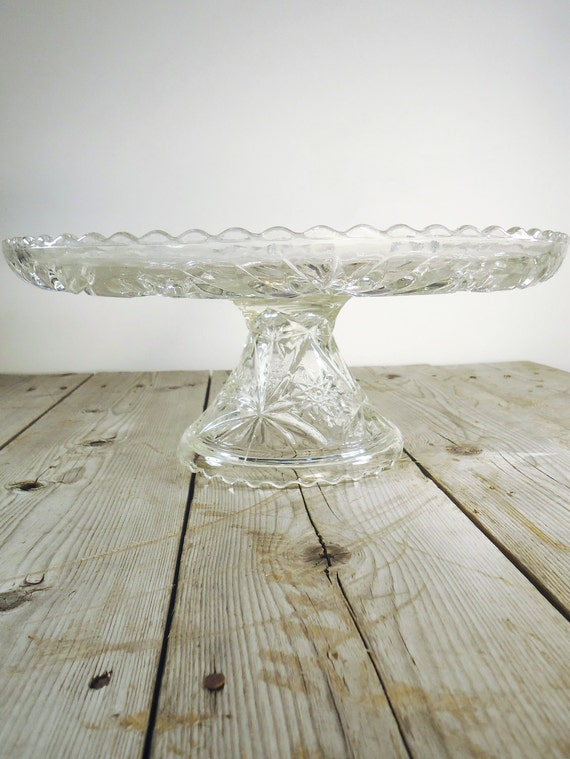 Large Glass Cake Plate