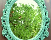 """RESERVED FOR BRITTY...Vintage Mirror Large Oval """"Upcycle"""" Satin Jade  French Ornate  Hollywood Regency Paris Apartment Seaside Cottage"""