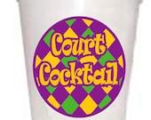 Court Cocktail Mardi Gras Styrofoam Cups -10 each 16oz