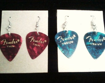 Guitar Pick Earrings: Red, Pink, Purple, Blue, Turquoise, Green, Abalone, Black, Gray, White, Tie Dye