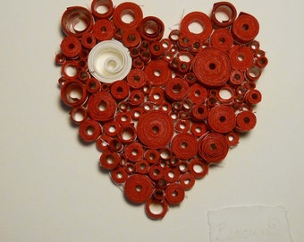 Heart, rolled paper heart, Original 3-Dimensional paper fine art, bright red heart
