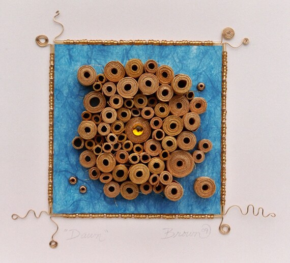 Modern wall art, Modern paper art, Original 3-Dimensional paper art, rolled paper art, blue and gold rolled paper