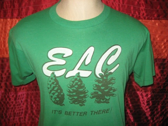 1980's ELC t-shirt with pinecones, soft and thin, M-L