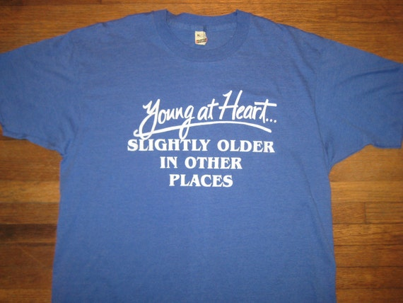 Vintage 1980's funny over the hill t-shirt, L-XL, super soft and thin