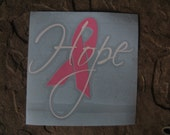 Breast Cancer Decal -HOPE  With Ribbon