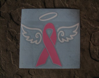 Breast Cancer Decal -Angel With Ribbon