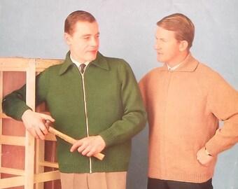 Vintage 1950s 1960s Men's Cardigan Knitting Pattern