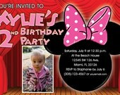 Minnie Mouse Invitations Custom Designed  with your childs photo Design 3