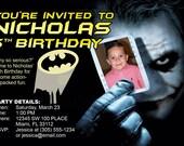 Batman Invitations Custom Designed  with the Joker holding your childs photo Design 3