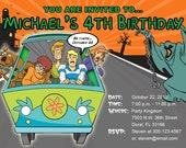 Scooby Doo Invitations Custom Designed Driving the Mystery Machine Design 3
