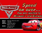 Cars Invitations Custom Designed with your Party Information - Lightning McQueen