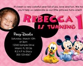 Disney Baby Invitations Custom Designed  with Your Childs Photo - Disney Babies