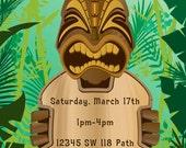 Hawaiian or Luau Themed Invitations Custom Designed