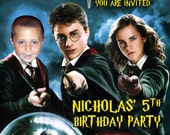 Harry Potter Invitations Custom Designed with your Kid next to Harry Potter and Party Information