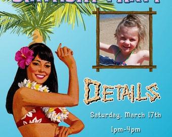 Hawaiian or Luau Themed Invitations Custom Designed - With Photo