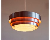 Danish lamp. Ceiling hanging lamp. 1970s. Orange, silver and glass.