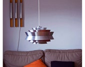 RESERVED - LIMITED time OFFER 230 dollars Danish modern hanging lamp. Eames era. 1960s 1970s. Orange and aluminum. Beautiful lighting.