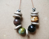 SALE - Ethnic Mixed Chunky Bead Necklace with Silver Discs