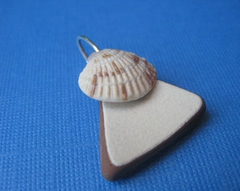Brown and White Sea Pottery and Seashell Pendant