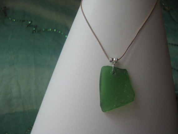 Large Green Genuine Sea Glass Necklace