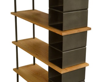 Modern Large wood and metal industrial bookshelf