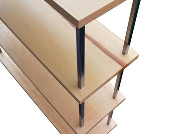 Modern Maple and Steel bookcase