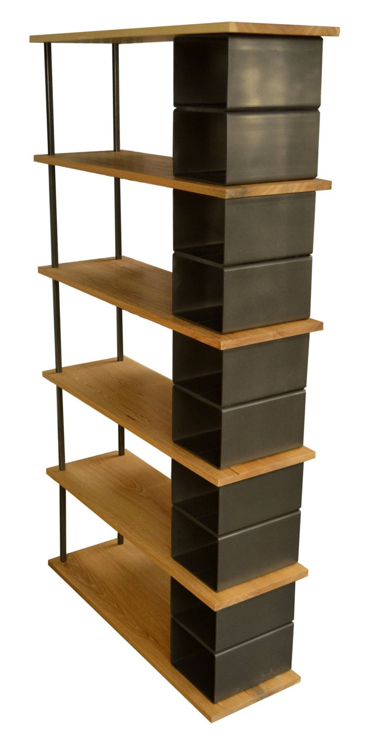 Modern large wood and metal industrial bookshelf - Modern bookshelf plans ...