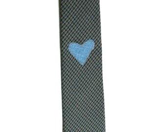 Frankie Four Handmade Plaid Valentine's Necktie with Blue Heart
