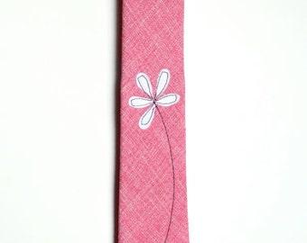 Frankie Four Handmade Pink Necktie with White Flower