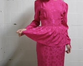 SALE: Pretty In Pink Vintage Hot Pink Ruffle Dress (M)
