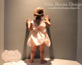 The Sweetheart Dress (And Bouffant Bow), PDF Sewing Pattern, Sizes Newborn to Toddlers to Girls 14, Instant Download Tutorial for Beginners