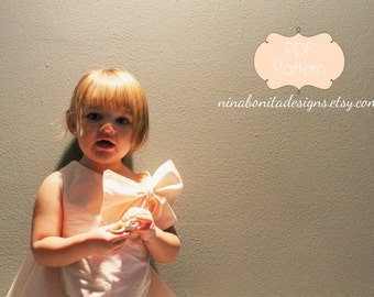 The Sweetheart Dress (and Bouffant Bow), PDF Sewing Pattern, Sizes Newborn to Toddlers to Girls 14