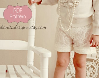 "The ""Little Miss Lovely"" Lace Short, PDF Sewing Pattern, Sizes Toddler 1T-5T, Instant Download Tutorial"