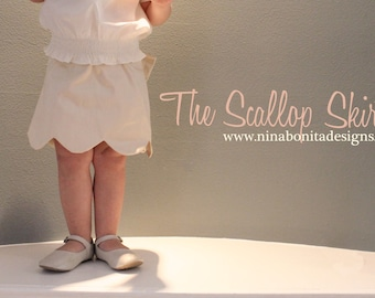 The Scallop Skirt, PDF Sewing Pattern, Sizes Newborn to Toddlers to Girls 14, Instant Download Tutorial
