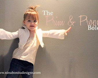 The Prim and Proper Bolero, PDF Sewing Pattern, Sizes Newborn Girls Ladies, Instant Download Tutorial