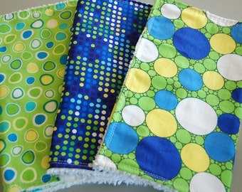 Baby Burp Cloth Set Extra Large Green & Blue