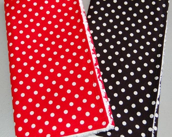 Baby Burp Cloths Red and Black Polka Dots