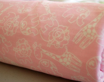 Baby Blanket - Toddler Blanket - Pink Zoo Animals - pink baby blanket